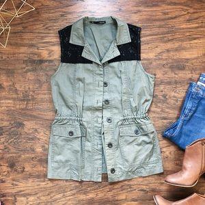 Maurices • olive green black lace safari vest